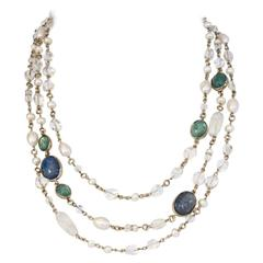 Goossens Paris Pearl and Rock Crystal Triple Row Necklace