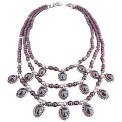 Vintage Sterling Silver Garnet Multi Strand Necklace