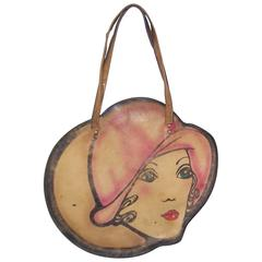 Mod 1960's Hand Painted Leather Handbag With Flapper Girl