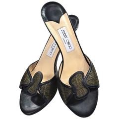 Jimmy Choo Metallic Shoes Slides Heels Size 40