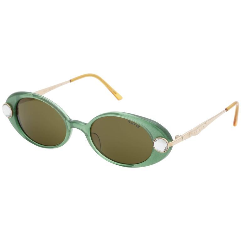 df8541953b39 Green Vintage Krizia Rhinestone Sunglasses For Sale at 1stdibs