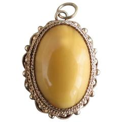 Vintage Chinese Butterscotch Egg Yolk Amber Silver Gilt Pendant