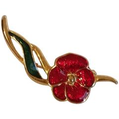 1980s Gold Tone Red Flower Brooch