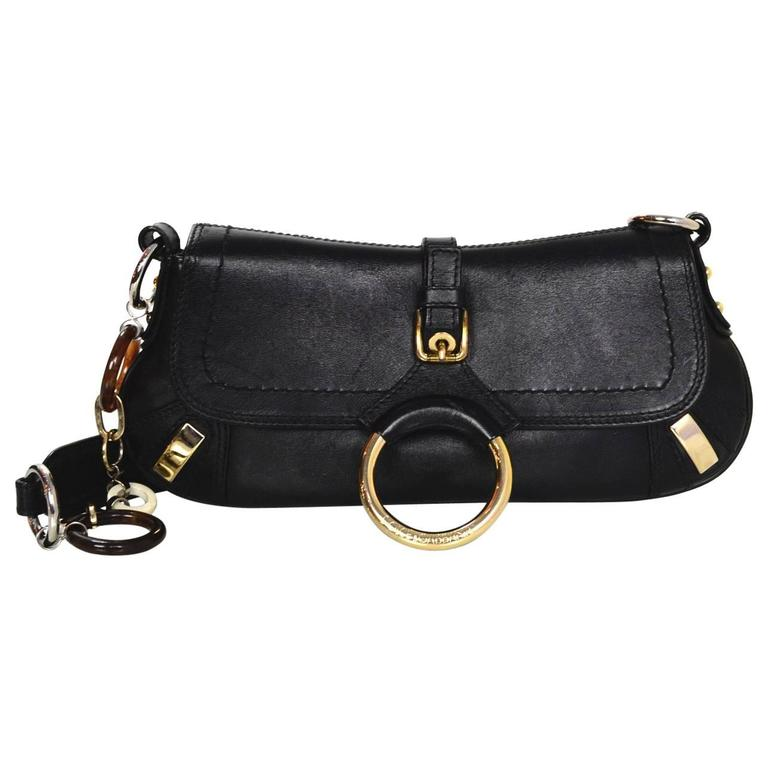 df65b176be1 Dolce and Gabbana Black Leather Pochette Bag For Sale at 1stdibs