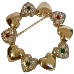 1980s Gold tone Hearts with Red Green Crystal Swarovski Brooch