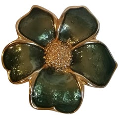 1970s Gold tone Green Flower Brooch