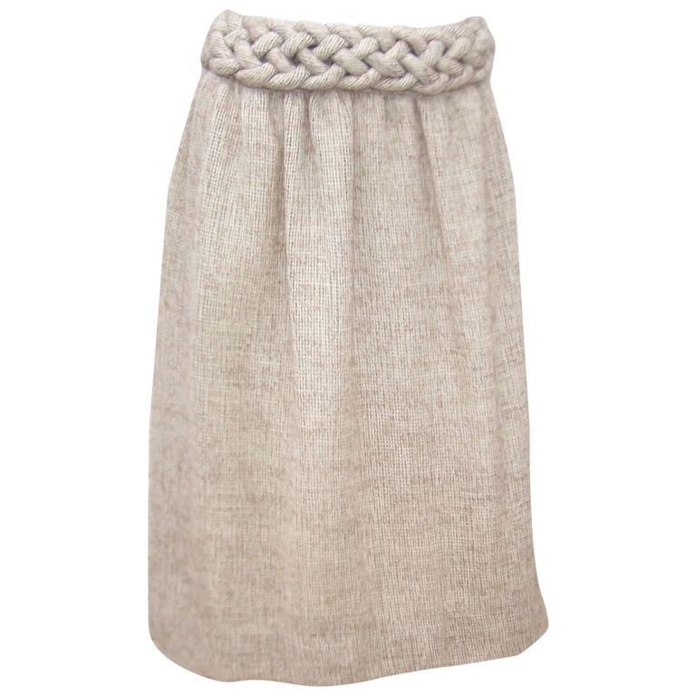 1970's Mary McFadden Burlap Skirt With Braided Waistband