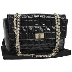 Chanel 2.55 Black Patent Leather Quilted Silver Chain Evening Shoulder Flap Bag