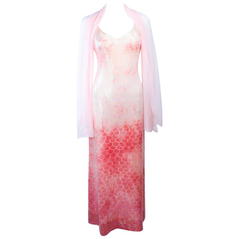 HALSTON 1970'S Sequin Peach Patterned Gown with Wrap Size 2 4