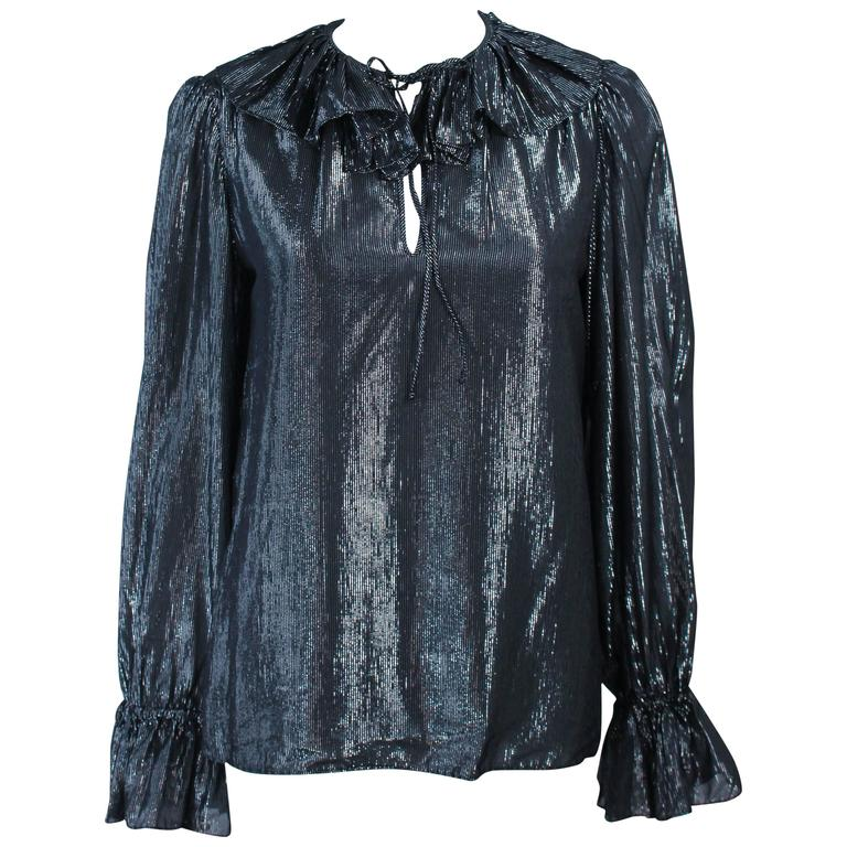 OSCAR DE LA RENTA Black and Silver Lame Blouse with Ruffles Size 12