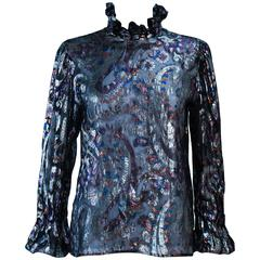 CHARLES JOURDAN Sheer Black Metallic Lame Ruffle Blouse Size 38