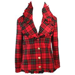 MOSCHINO Red Scotch Plaid Jacket with Fringe Detail Size 44