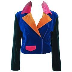 MOSCHINO Velvet Color Block Moto Jacket Size 10 44