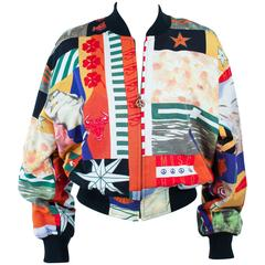 MOSCHINO Bomber Peace Zipper Abstract Art Print Size 44