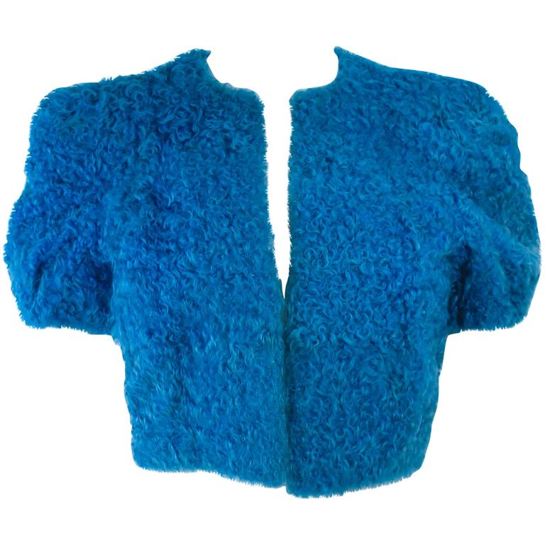 Vintage 1950's Blue Curly Lamb Cropped Jacket Size Small