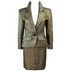 YVES SAINT LAURENT Gold Lame Skirt Suit Size 44