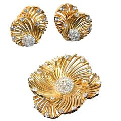 BOUCHER Gold Tone Earrings and Brooch Set with Rhinestones