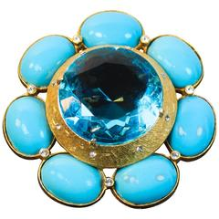 Briana Turquoise and Gold Hue Brooch with Rhinestones