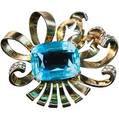 Sterling Brooch with Aqua Rhinestone