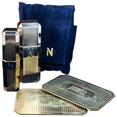NORMAN NORELL Vintage Gold Tone Cosmetic Set with Velvet Bag