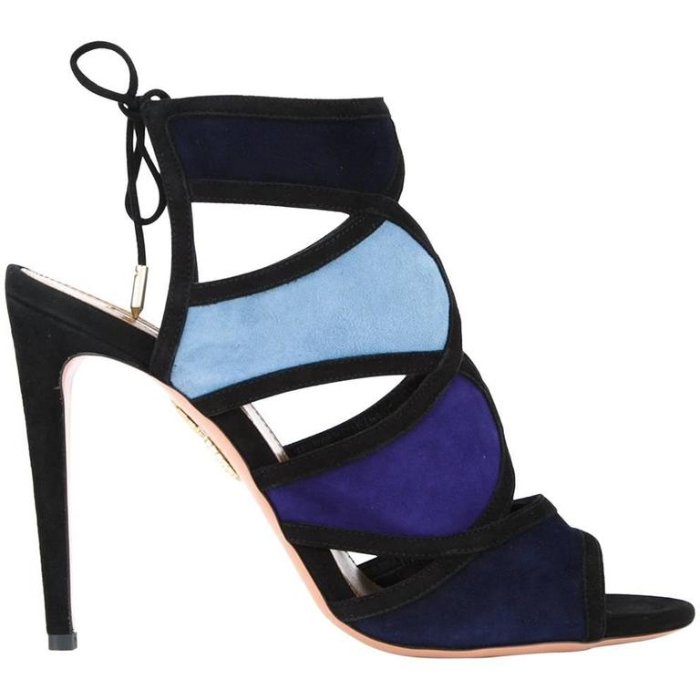 7ff2e6649e1a Aquazzura NEW   SOLD OUT Blue Suede Colorblock Evening Heels Sandals in Box  For Sale