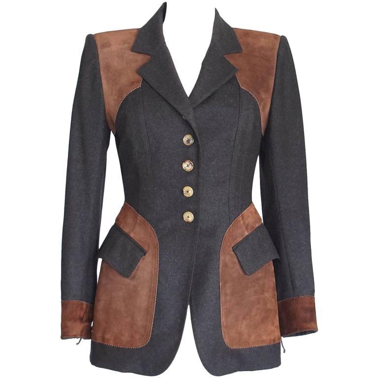 Hermes Jacket Striking Shape and Details in Wool and Suede Vintage  38 / 6 1