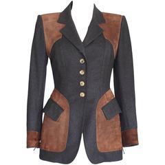 Hermes Jacket Striking Shape and Details in Wool and Suede Vintage  38 / 6