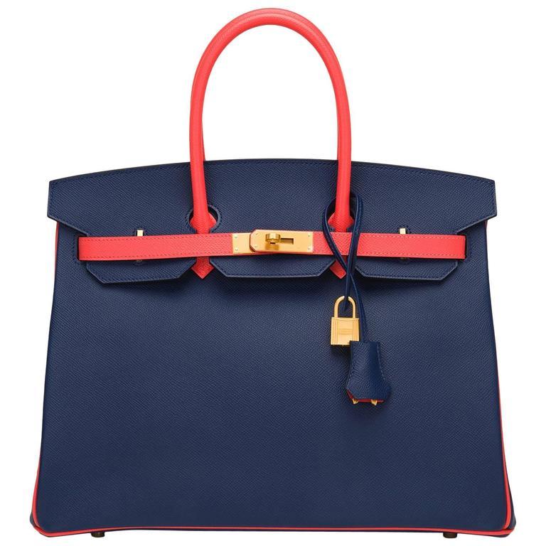 Hermes HSS Bi-color Blue Sapphire And Rose Jaipur Epsom Birkin 35cm For Sale