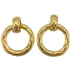 1980's Chanel Large Quilted Gold-Plated Hoop Earrings