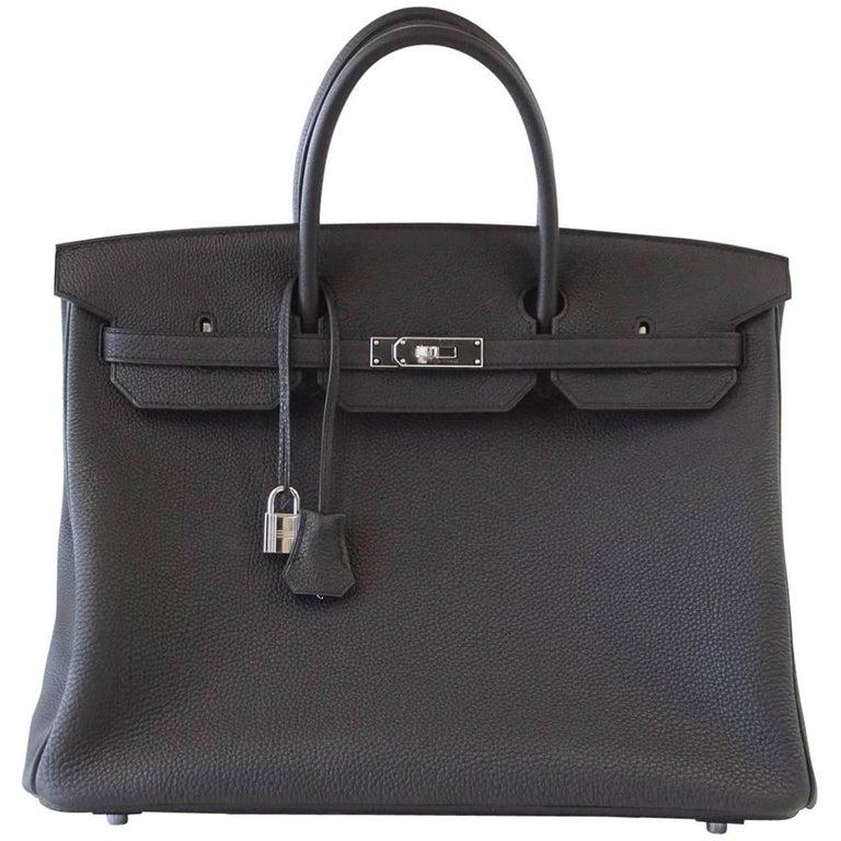 Hermes Birkin 40 Bag Rich Matte Black Togo Palladium Hardware For Sale