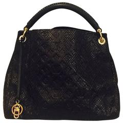 Limited Edition Black Louis Vuitton Python Empriente Artsy MM Bag Excellent