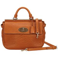 Brown Mulberry Embossed Leather Satchel
