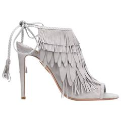Aquazzura NEW & SOLD OUT Gray Suede Tassel Evening Heels Sandals in Box