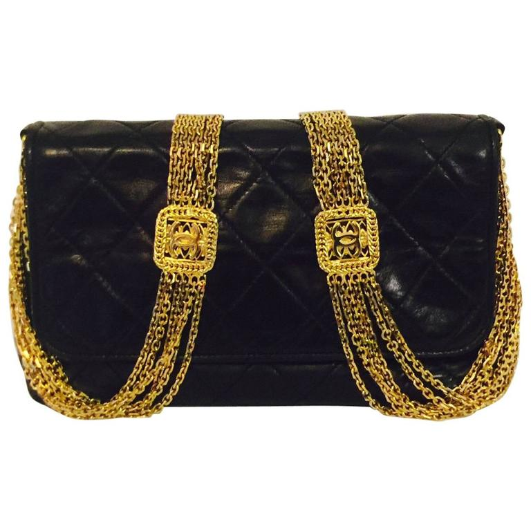 624aad637dec 1980s Chanel Black Quilted Lambskin Flap Bag W Gold Tone Multi Chain Strap  For Sale at 1stdibs