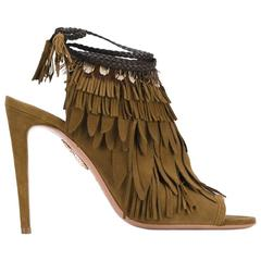 Aquazzura NEW & SOLD OUT Suede Tassel Evening Heels Sandals in Box