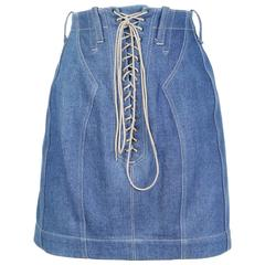 Alaia Denim Skirt with Lace Up Detail circa 1990s