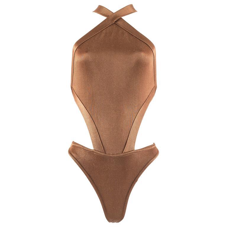 Azzedine Alaia Spring-Summer 1986 bronze acetate knitted bondage bodysuit