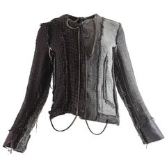 Maison Martin Margiela artisanal inverted wool jacket adorned with metal chains