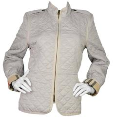 Burberry Brit Beige Nylon Quilted Jacket sz XL