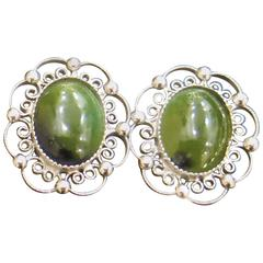 Sorrento Sterling and Jade Filagree Clip Earrings