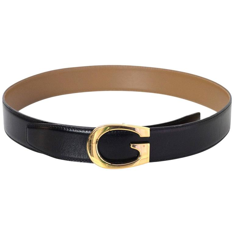 86f01bf1e Gucci Black Leather Belt W/ Goldtone G Buckle sz 75 For Sale at 1stdibs
