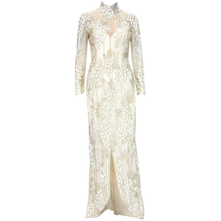 Iconic 1989 Bob Mackie White Embroidered Beaded Grapevine Design ...