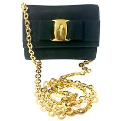 Vintage Salvatore Ferragamo black shoulder mini bag with gold chain and Vara bow
