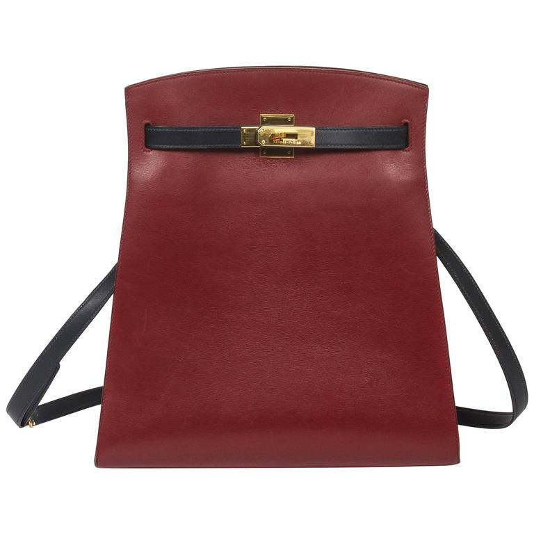 3c2dae0e59583f sale hermès vintage kelly sport bag 2118f 44b81; coupon code for hermes  kelly sport gm bicolor rouge h navy box leather for sale b5e1f