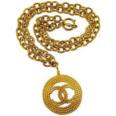 Chanel Vintage 1993 Gold Toned CC Pendant Sautoir Necklace