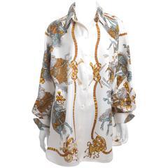 """90's Hermes Silk Blouse """"LES FETES DU ROI SOLEIL""""Motive size XL"""