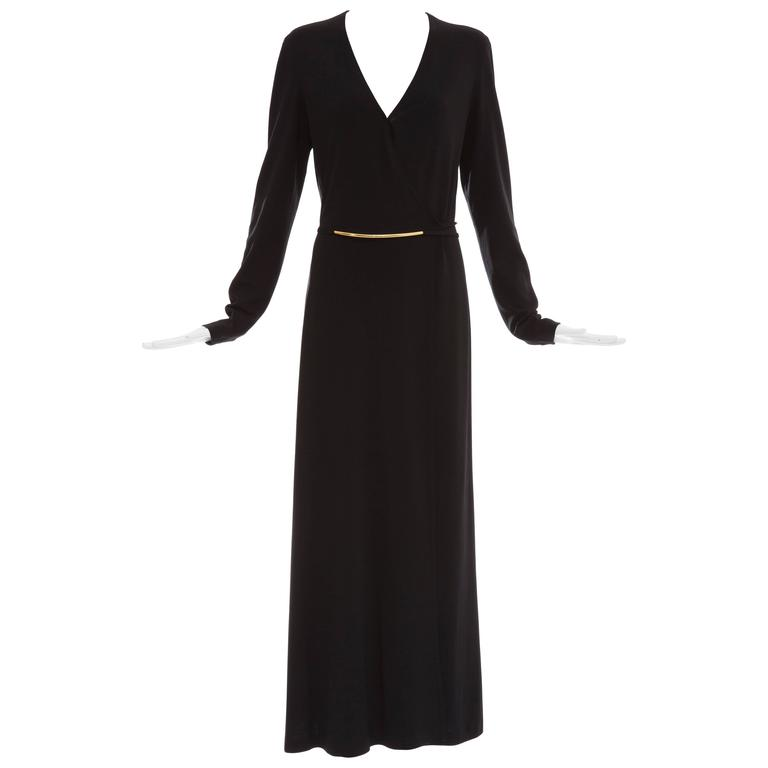 Donna Karan Black Stretch Jersey Long Sleeve Wrap Dress, Circa 1990's