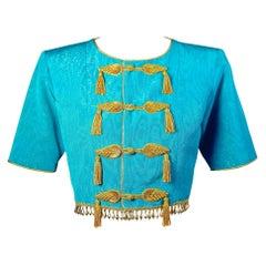 1993 Yves Saint Laurent Documented Moire Gold Silk Tassel Beads Jacket YSL