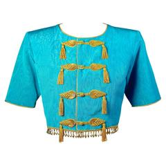 1993 Yves Saint Laurent Documented Turquoise Moire Gold Silk Tassel Beads Jacket