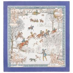 "HERMES c.1968 Philippe Ledoux ""L'hiver"" Purple White Winter Hunting Silk Scarf"